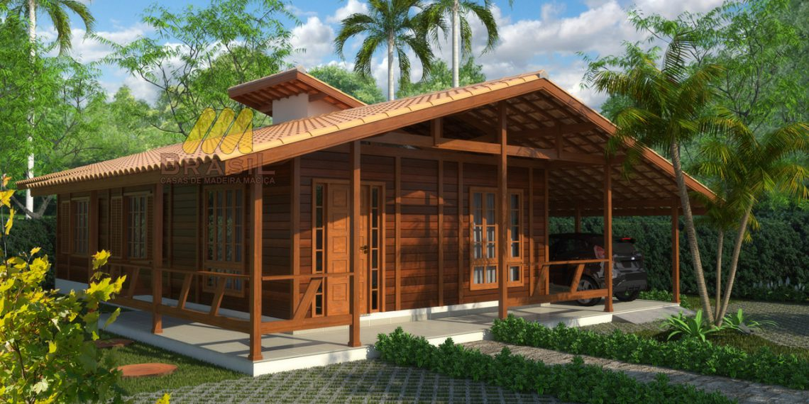 Casa de madeira pré-fabrica