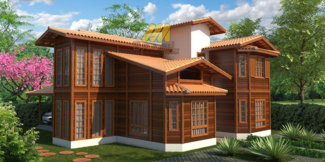 Casa de madeira 2 pavimentos 3 quartos 247 57 m for Fotos de casas modernas brasileiras