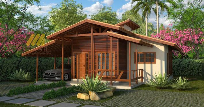 projeto casa de madeira 2 quartos