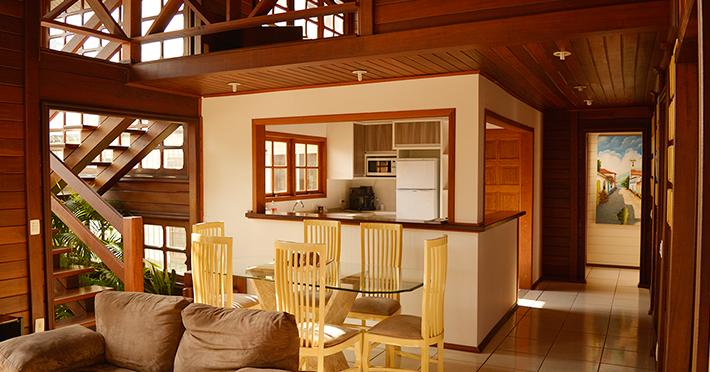 Interior casa de madeira pré-fabricada