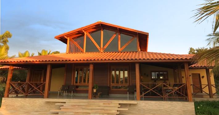 casa de madeira maciça pré-fabricada de 215,14m² ampliada
