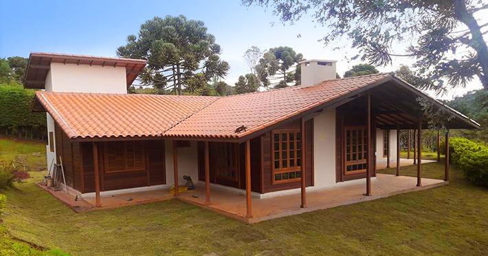 Casa de madeira maciça para sítio