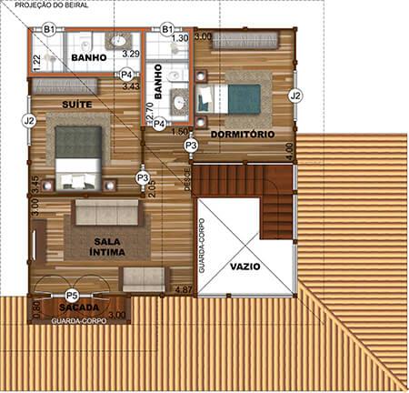 Planta de casa de madeira pré-fabricada com 165,88m² e 2 pavimentos.