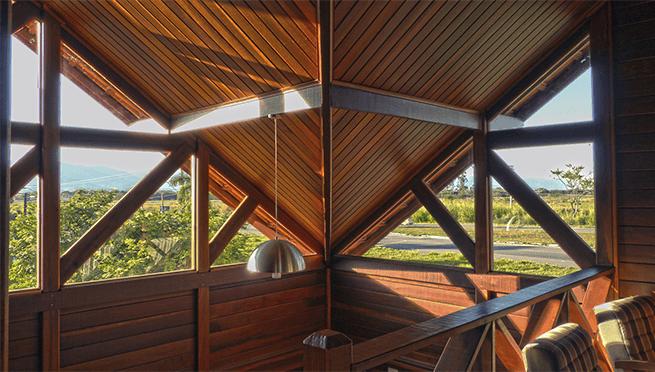 pé-direito teto vidro casa pré-fabricada